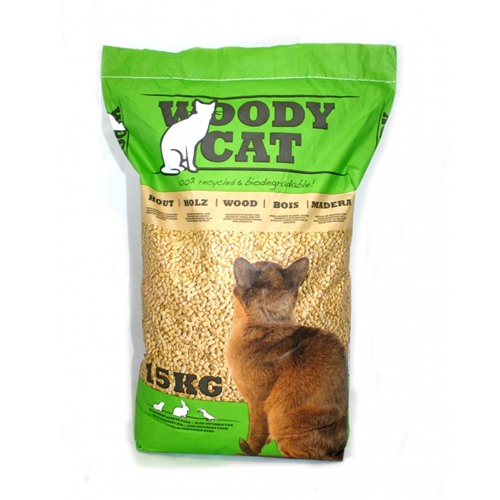 Litiere pour chat Woody cat 100% recyclé et biodégradable 15kg